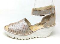 Fly London Women's Yake Wedge Sandal Ankle Strap Metallic Pearl 38 EU 7-7.5 US