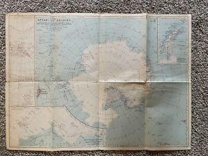 1932 National Geographic Magazine Antique Map Antarctic Regions Antarctica
