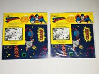 Vintage 1992 Superman Sticker Coloring Poster Lot (2) American Greetings