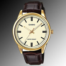 Casio Mens Mtp-v005gl-9a Gold Analog Watch Brown Leather Band
