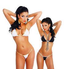 Costume da Bagno 2 Pezzi Micro Mini Bikini Minimale a Goccia Nero o Oro Bianco