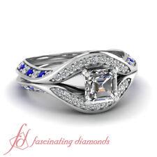 1.35 Ct Asscher Cut FLAWLESS Diamond & Blue Sapphire Pave Set Engagement Ring