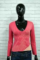 CALVIN KLEIN Maglia Donna Taglia M Polo Manica Lunga Shirt Elastica T-shirt Rosa