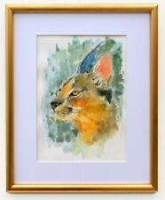 Caracal Watercolor Painting Big Cat Painting Framed African Wildlife Original