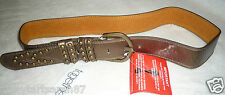 """Bronze Metallic Leather Belt  With Studded Detail Retro PARTY Size M 36-40"""" BNWT"""