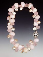 CLEARANCE SALE - BESS HEITNER GRADE AAA PINK OPAL, ROSE QUARTZ, PEARL NECKLACE