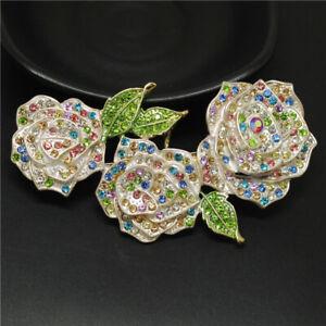 Hot Color Rhinestone Three Rose Flower Crystal Betsey Johnson Charm Brooch Pin