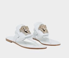 New VERSACE Palazzo white leather flat thong sandals 38 - 8