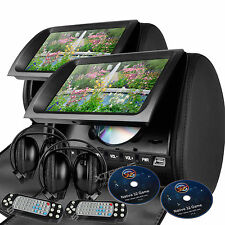 "Black 2x 9"" Car Seat Pillow Headrest Monitor DVD/USB/SD Player Game Headphones"