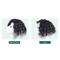 Women Curly Wavy Human Hair  Clip in Machine Topper Hair Piece For Loss/White
