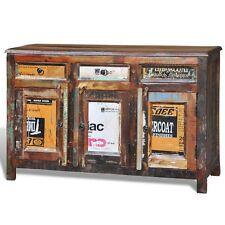 # Antik Teak Massivholz Kommode Sideboard TV Hoch Schrank Vintage Retro 3 Türen