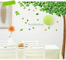 Huge Green Corner Tree and Butterfly Wall Stickers Removable Re-positionable