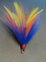 2 pack 5/0 Mustad Dressed Musky Pike Bucktail Teaser Treble Hooks - Gr Or Blue