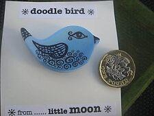 & black, New, + green gift bag brooch, 'doodle bird' by . little moon', blue