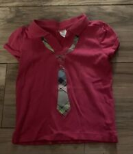 Gymboree Smart And Sweet Girls Short Sleeve Shirt Top Size 4 Tie Pink