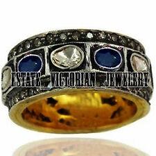 Artdeco Estate Eternity Ring Jewelry 2.94Cts Rose Antique Cut Diamond Sapphire