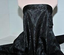 SATIN BROCADE FABRIC BLACK BY THE YARD, BRIDAL, FORMAL, HOME DECOR, CURTAINS