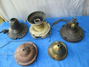 Antique Salvaged School House Ceiling Light fixture parts or repairs 5 pcs.