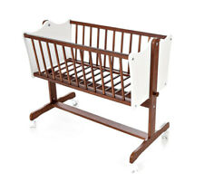Cradle Rocking Cradle Baby Cradle Wood Solid Nut White Parquet Roles New