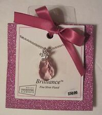 """Swarovski Elements Pink Oval Crystal Silver Plated 18"""" Necklace $50, FREE S&H"""