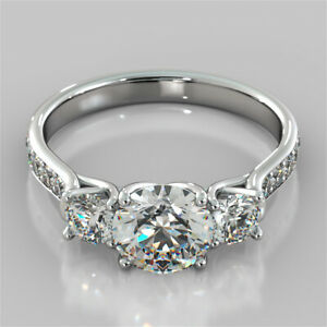 2.40 Ct Round 3 Stone Diamond Engagement Ring 14K Solid White Gold Size N O P Q