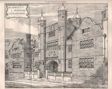1881 ANTIQUE ARCHITECTURAL PRINT- SURREY, THE ABBOT'S HOSPITAL, GUILDFORD