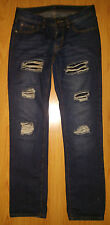 New Men's Jeans 32X33 Ring Of Fire Factory Destroyed Dark Wash Blue Tag is 30X32
