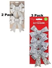 Christmas Tree Decoration Glittered Bows,Gift Xmas Bows Red,Gold,Silver,White