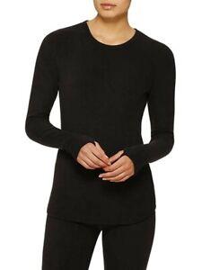 ClimateRight Cuddl Duds Stretch Fleece Long Sleeve Crew Black Medium Top Shirt