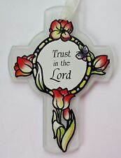 q Trust in the Lord GLASS CROSS ORNAMENT faith stained glass look tulip