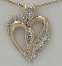 LADIES 10K YELLOW GOLD 1/2ct ROUND BAGUETTE DIAMOND HEART LOVE PENDANT CHARM 1""