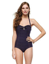 $173 JUICY COUTURE L One Piece Faux Denim Bandeau SWIMSUIT *BETTY JEAN* Maillot