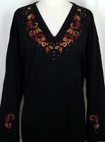 PLUS 3X Black Autumn Leaves & Vines Hand Embellished Rhinestone Long Top Shirt