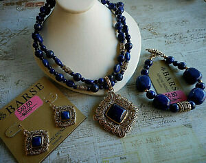 Barse Bronze Lapis Lazuli Beaded Necklace Earring Bracelet Set   34-4