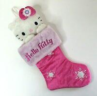 "Sanrio Hello Kitty Pink Plush Christmas Stocking Embroidered 22"" 2008 NEW"