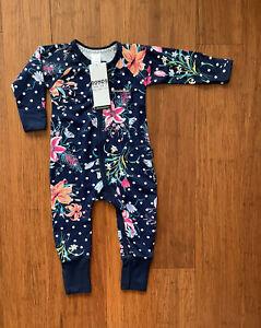 Bonds Baby Girl Navy Polka Dot Floral Zip Wondersuit Size 0 BNWT