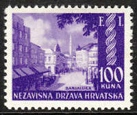 Stamp Croatia Sc 52 1942 WWII Germany 3rd Reich Banjaluka Exhibition Expo MNH