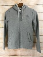 Women's North Face Quilted Hoodie Sweatshirt Zip Up Jacket Sherpa Lined Gray