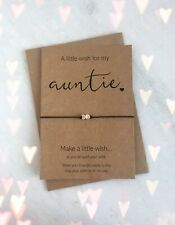 A Little Wish For My Auntie Heart Charm Wish Bracelet Birthday Thank You Gift