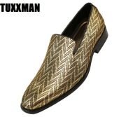 New Men's Metallic Gold Black Zig Zag Slip On Dress Shoes TUXXMAN Loafers Tux