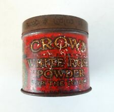 Vintage Old Collectible Crown White Rose Powder Ad Litho Tin Round Box London