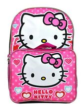 "Hello Kitty Girls 16"" Cute Toddler School Cat Backpack Book bag Kids Children"