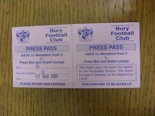 17/03/2001 Ticket: Bury v Notts County [Press Pass] . Bobfrankandelvis the selle