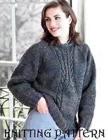 """Ladies cable detail sweater KNITTING PATTERN 32"""" - 42"""" Aran 390"""