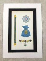1858 British Medals Royal Order of the Garter Star Collar Regalia Antique Print