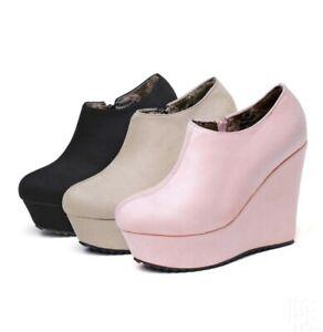 34-43 Damenstiefeletten Rund Keilabsatz High Heel Ankle Boots Plateau Freizeit