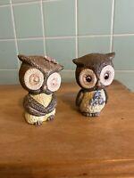 Vtg Owl figurines set 2 eyes open eyes closed pink blue flowers birds animals