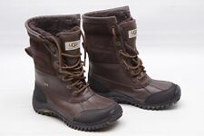 UGG Womens Snow Boots 6 Brown Black Vibram Waterproof Leather Fur Lined