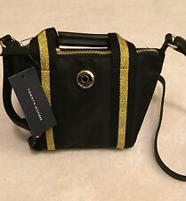 TOMMY HILFIGER AUTHENTIC Black/Gold Shopper Crossbody Bag- NWT-Retail $69