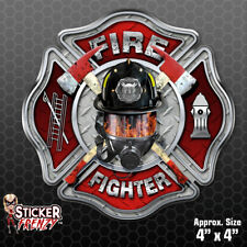"Firefighter ""MASK"" Cross - Sticker Vinyl Decal Flag Maltese Fire fighter #FS2028"
